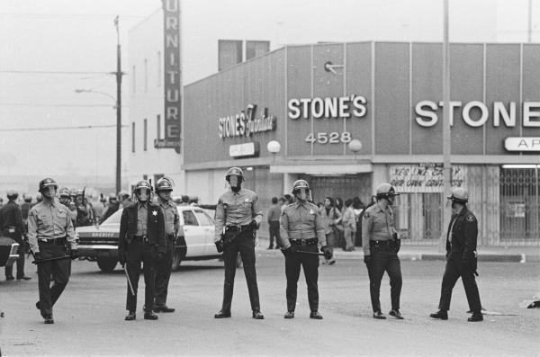 <em>L.A. County Sheriff's Department deputies on Whittier Blvd. during </em>La Marcha por la Justicia,<em> East L.A.</em><em> </em>January 31, 1971.