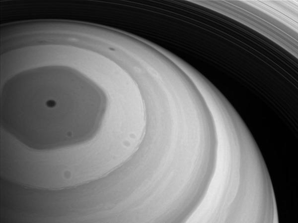 Cassini has observed a strange, hexagonal jet stream at Saturn's north pole.