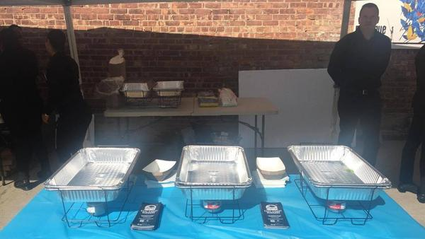 The hamburger table, which according to attendee Sylwia Mordel remained entirely bereft of burgers at least an hour into the festival Sunday.