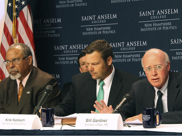 New Hampshire Secretary of State Bill Gardner (from right), Kansas Secretary of State Kris Kobach and former Ohio Secretary of State Ken Blackwell at the second meeting of the Presidential Advisory Commission on Election Integrity, on Tuesday.