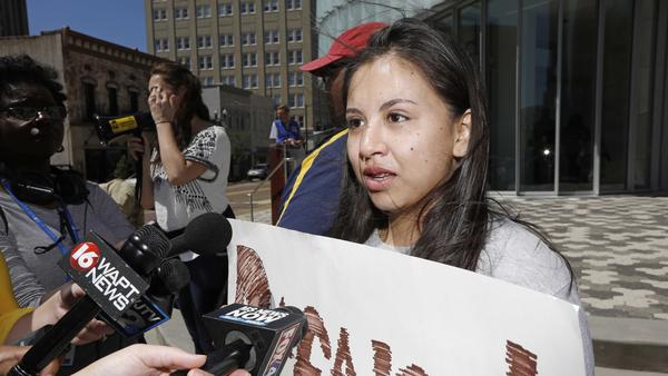 Brenda Ramirez, 18, speaks to reporters about the opportunities she receives via the DACA program during a protest earlier this month in downtown Jackson, Miss.