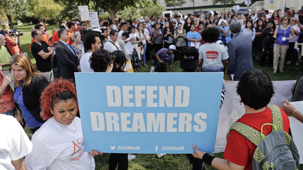 Immigrant rights supporters gather at the U.S. Capitol in Washington on Tuesday, Sept. 26, 2017.