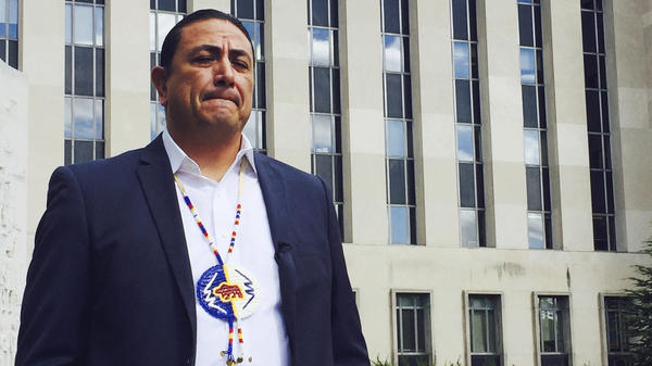 Dave Archambault, chairman of the Standing Rock Sioux Tribe, stands outside court in Washington in October 2016, where appeals court judges heard his tribe's challenge to the Dakota Access Pipeline.