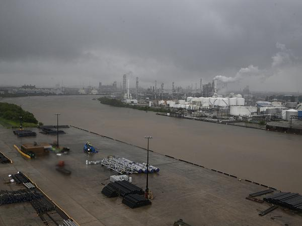Water rises in the Houston Ship Channel on Aug. 27. Some of the largest oil refineries in the world line the channel, which connects Houston to the Gulf of Mexico.