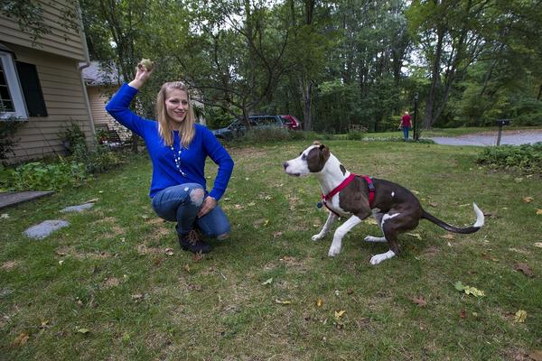 """Eldred, at home with her dog, Bubbles, says she's committed to her recovery from opioid addiction. """"But,"""" she adds, """"I can't say that I won't ever relapse again. Right now I feel strong, but this is a lifelong journey."""""""
