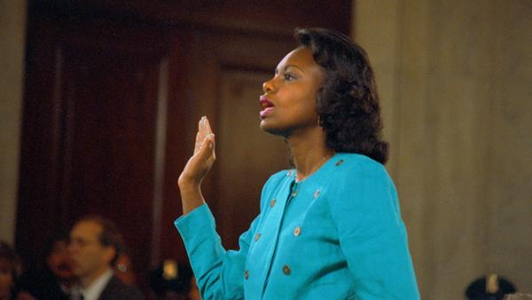 Anita Hill is sworn in before testifying during Senate hearings on the confirmation of Clarence Thomas to the Supreme Court in 1991.