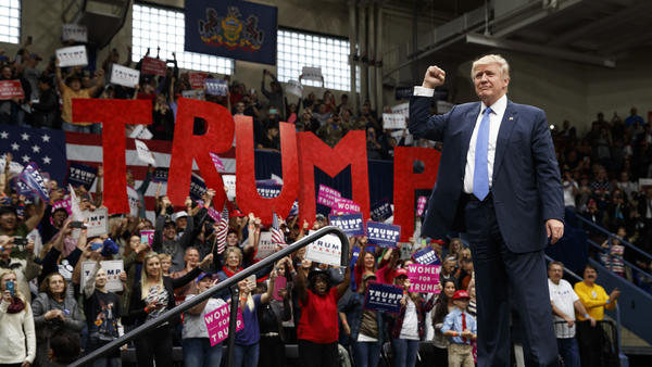 "Donald Trump at an Oct. 2016 campaign rally in Johnstown, Pa. He won by cracking Democrats' ""blue wall,"" as the first GOP presidential candidate to win Pennsylvania since 1988."