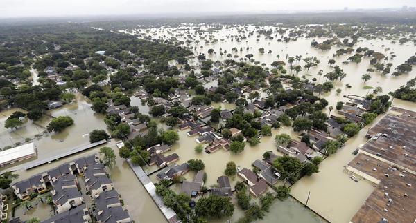 Hurricane Harvey dropped record rainfall on Houston neighborhoods like this one, near Addicks Reservoir.