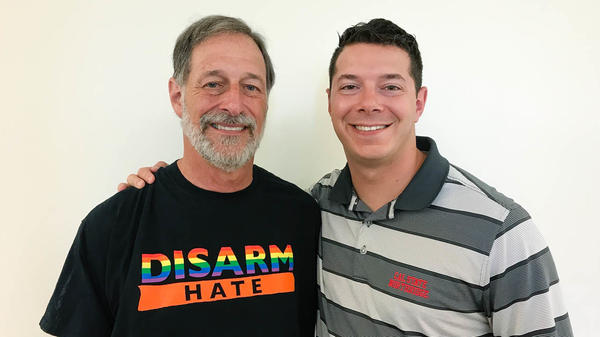 Alan Stepakoff (left) and his son Josh at StoryCorps in Los Angeles.