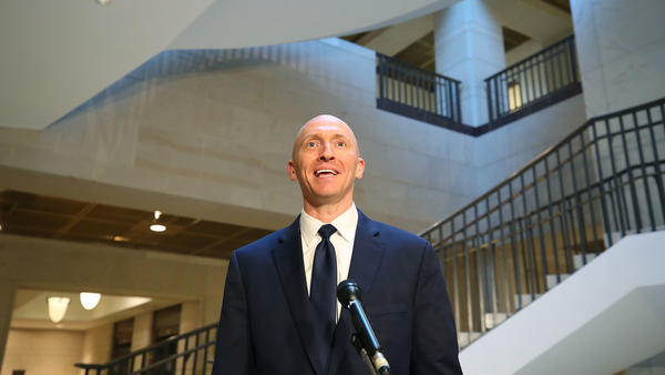 Carter Page, former foreign policy adviser for the Trump campaign, speaks to the media after testifying before the House Intelligence Committee on Nov. 2.