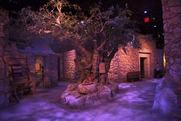 Limestone dwellings and olive trees make up a scene representing Nazareth during Jesus' time.