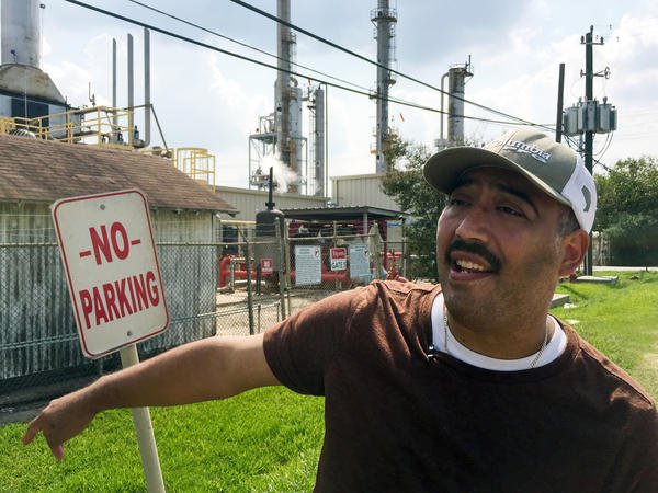 """If I smell something out here, it's bad, and I can tell you during Harvey, it smelled real bad,"" said Juan Flores in Galena Park, Texas, about a leak that caused strong gasoline odors to waft through town."