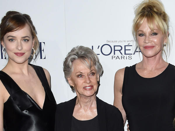 Tippi Hedren, with her daughter Melanie Griffith and granddaughter Dakota Johnson at a 2015 event.