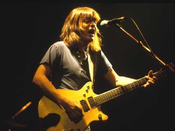 AC/DC guitarist and songwriter Malcolm Young performing in Bloomington, Minn., in 1985.