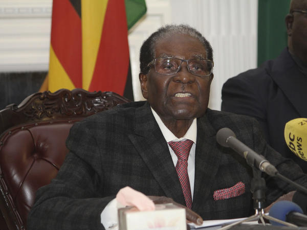 Zimbabwean President Robert Mugabe delivers his speech during a live broadcast at State House in Harare on Sunday. Mugabe has baffled the country by ending his address on national television without announcing his resignation.