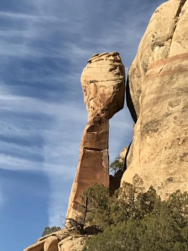 A pinnacle leaning into the sky in the Bears Ears National Monument in Utah.