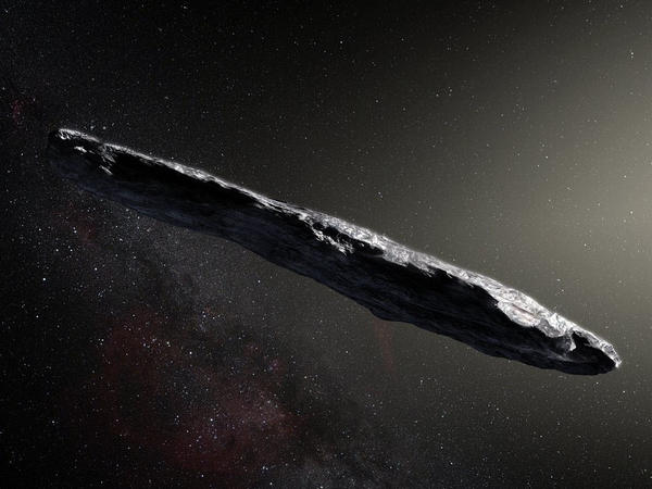 This artist's impression shows the first sighted interstellar asteroid, Oumuamua, discovered on Oct. 19, 2017.