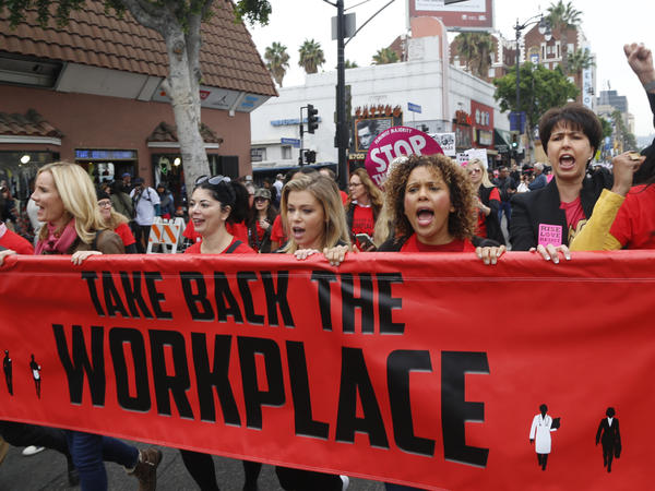 Participants march against sexual assault and harassment at the #MeToo March in the Hollywood section of Los Angeles last month.