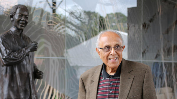 Ahmed Kathrada, anti-apartheid activist and close friend of former South African President Nelson Mandela, visits the Nelson Mandela Foundations Centre of Memory in Houghton, Johannesburg.