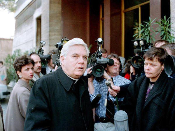 Law talks to reporters in Rome in March 1989. Even before the sexual abuse scandal, the Catholic Church's influence was on a slow decline in Boston.