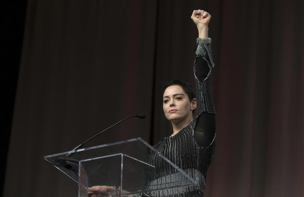 Actress Rose McGowan speaks at the inaugural Women's Convention in Detroit, on Oct. 27. McGowan recently went public with her allegation that film company co-founder Harvey Weinstein raped her.