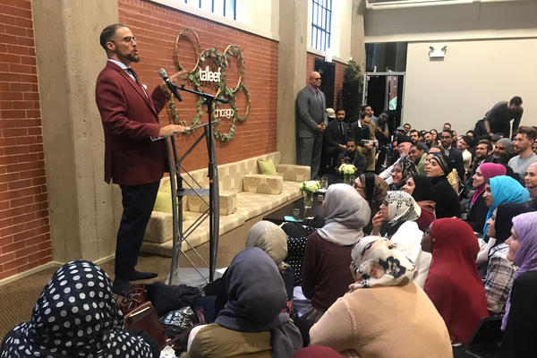In one of his last talks before taking a leave of absence, Usama Canon addresses a crowd at Ta'leef Chicago's campus.