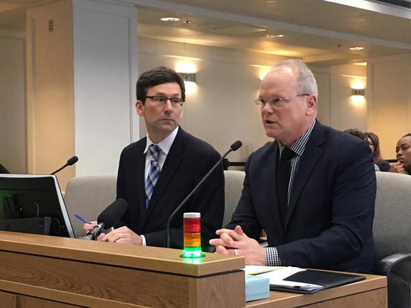 King County Prosecutor Dan Satterberg, right, testifies in favor of repealing the death penalty in Washington. He was joined by Attorney General Bob Ferguson.