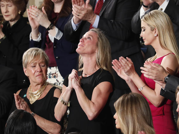 """Carryn Owens, the widow of Navy SEAL William """"Ryan"""" Owens, fought back tears as President Trump addressed her during his 2017 speech to a joint session of Congress."""