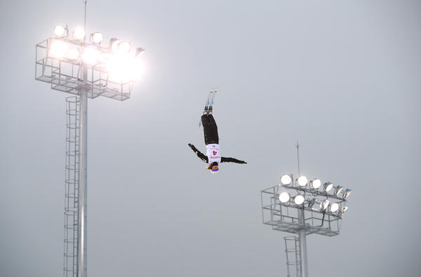 "Ashley Caldwell performs an aerial before the World Cup last February. When she watched aerials for the first time at age 12, she remembers thinking: ""Why are these people so crazy?"""