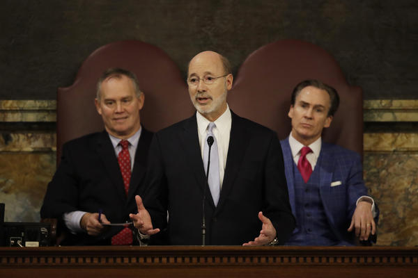 Pennsylvania Gov. Tom Wolf delivers his budget address in February 2017 in Harrisburg, Pa. He and Republican leaders have a week to come up with new congressional maps for the state.