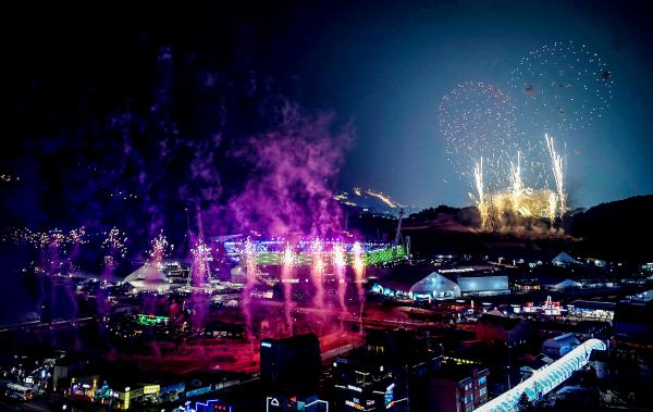 Fireworks go off at the start of the opening ceremony of the Pyeongchang 2018 Winter Olympic Games.