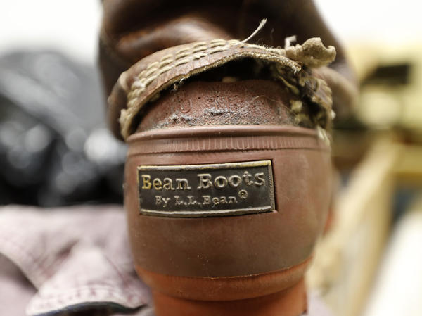 A Bean Boot is seen in the return bin at an L.L. Bean retail store in Freeport, Maine.