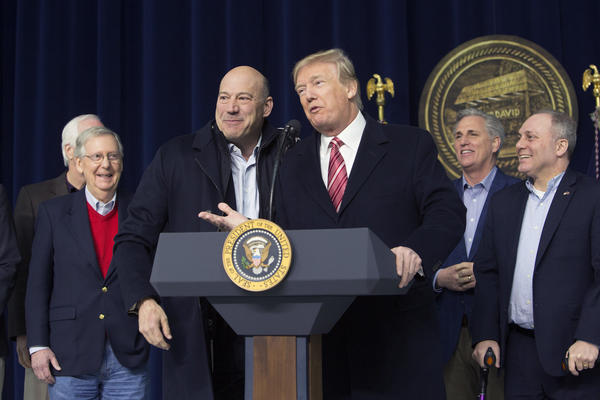 President Trump and National Economic Council Director Gary Cohn at Camp David in January. Cohn announced his resignation Tuesday.