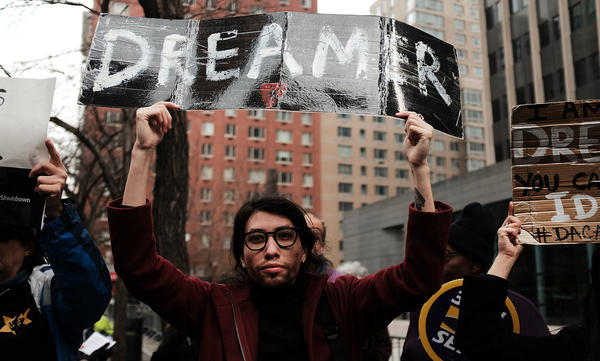 Demonstrators protest the lack of a deal on the Deferred Action for Childhood Arrivals program, which includes so-called DREAMers, last month outside of Federal Plaza in New York City. There is still no deal.