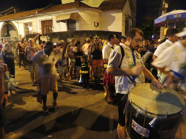 One of the hundreds of boisterous street parties, known as <em>blocos</em>, underway in Rio de Janeiro this week.