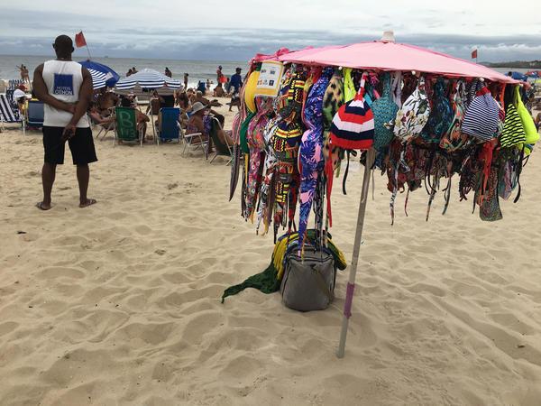 Items for sale on Rio's Copacabana Beach.