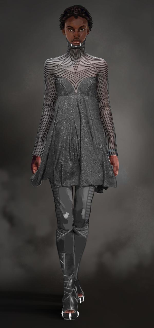 T'Challa's sister Shuri wears a more modern silhouette.