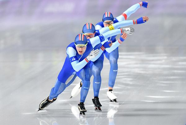 Norway's Sverre Lunde Pedersen leads his team in the men's team pursuit quarterfinal speedskating event.