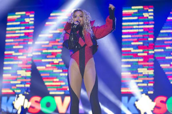 Kosovo-born British singer and actress Rita Ora performs at the Kosovo capital Pristina on Feb. 17.