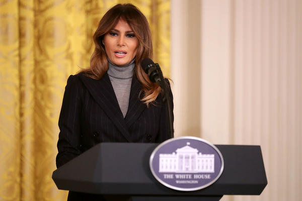 First lady Melania Trump delivers remarks during the White House Opioid Summit on Thursday.