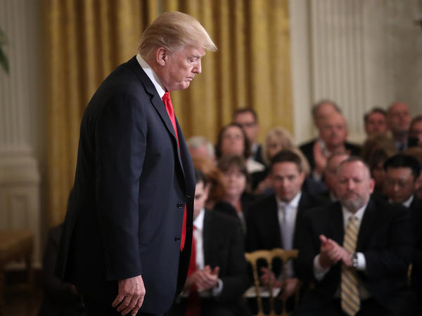 President Donald Trump departs after speaking at the White House's Opioid Summit Thursday. Trump delivered brief remarks at the conclusion of the summit aimed at addressing the opioid addiction problems in the U.S.