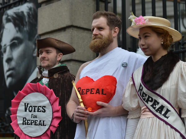 Abortion rights campaigners protest on Feb. 14 outside the Irish Parliament in Dublin, calling for a repeal of the Eighth Amendment to the Irish Constitution.