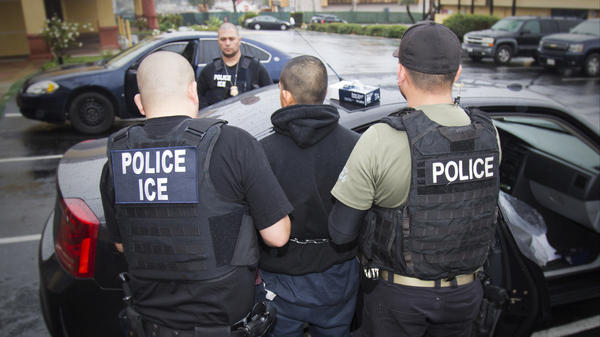Foreign nationals are arrested during a targeted enforcement operation conducted by U.S. Immigration and Customs Enforcement aimed at immigration fugitives, re-entrants and at-large criminal aliens in Los Angeles on Feb. 7, 2017.