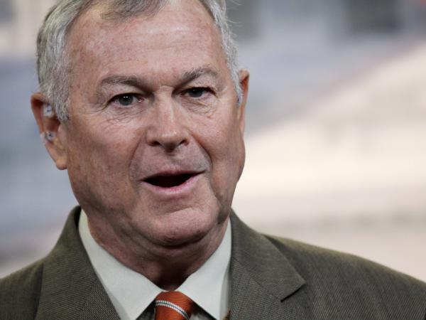 Rep. Dana Rohrabacher, R-Calif., seen in 2013, stands out in the Republican Party for his urging of closer ties with Russia. Under the cloud of investigations over Russian meddling in American politics, he's being challenged over that stance in his re-election campaign.