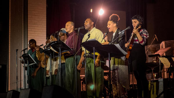 Musical Connections musicians perform with teaching artists Sarah Elizabeth Charles and Camila Meza at Sing Sing Correctional Facility in 2017.