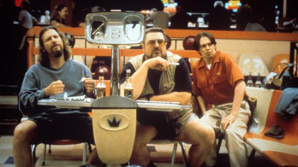 Jeff Bridges, John Goodman and Steve Buscemi portay bowling teammates The Dude, Walter and Donny.