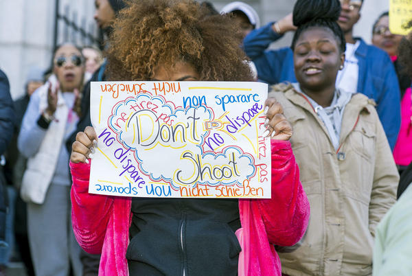 Students at Philadelphia High School of Creative And Performing Arts participate in the walkout.