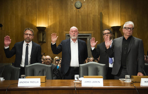 Backpage.com executives — CEO Carl Ferrer (from left), former owner James Larkin, Chief Operating Officer Andrew Padilla, former owner Michael Lacey — are sworn in to testify before a Senate Homeland Security and Governmental Affairs subcommittee on investigations in January 2017.