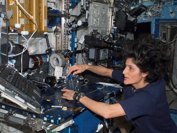 Sunita Williams conducts routine maintenance during a stint aboard the International Space Station. Nowadays, the astronaut helps Boeing and SpaceX develop private spacecraft.
