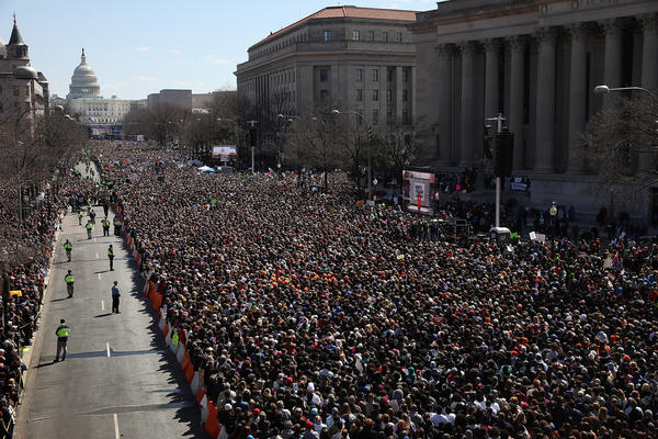 Gun reform advocates line Pennsylvania Avenue while attending the March for Our Lives rally.